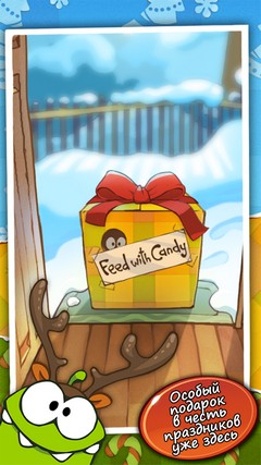 Скриншот игры Cut the rope: Holiday gift для Android.